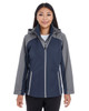 Navy/Graphite/Graphite - FRONT - NE700W Ash City - North End Ladies' Embark Colorblock Interactive Shell Jacket with Reflective Printed Panels | Blankclothing.ca