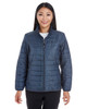 Grid - FRONT - NE701W Ash City - North End Ladies' Portal Interactive Printed Packable Puffer Jacket | Blankclothing.ca