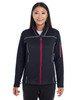 Black/Grey/Classic Red - FRONT - NE703W Ash City - North End Ladies' Endeavor Interactive Performance Fleece Jacket | Blankclothing.ca