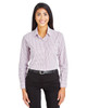 Burgundy/White - DG540W Devon & Jones Ladies' CrownLux Performance™ Micro Windowpane Shirt