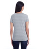 Heather Grey Invisible Stripes - Back, 252RV Threadfast Ladies' Invisible Stripe V-Neck T-Shirt   Blankclothing.ca