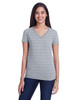 Heather Grey Invisible Stripes - 252RV Threadfast Ladies' Invisible Stripe V-Neck T-Shirt   Blankclothing.ca