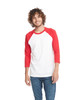 Red/White - 6251 Next Level Unisex CVC 3/4 Sleeve Raglan Baseball T-Shirt | BlankClothing.ca