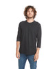Black/Black - 6251 Next Level Unisex CVC 3/4 Sleeve Raglan Baseball T-Shirt | BlankClothing.ca