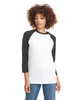 Black/White - 6251 Next Level Unisex CVC 3/4 Sleeve Raglan Baseball T-Shirt | BlankClothing.ca