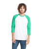 Kelly Green/White - 6251 Next Level Unisex CVC 3/4 Sleeve Raglan Baseball T-Shirt | BlankClothing.ca