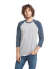 Midnight/Dark Heather Grey - 6251 Next Level Unisex CVC 3/4 Sleeve Raglan Baseball T-Shirt | BlankClothing.ca