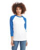 Royal/White - 6251 Next Level Unisex CVC 3/4 Sleeve Raglan Baseball T-Shirt | BlankClothing.ca