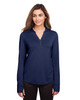 Classic Navy - NE400W North End Ladies' Jaq Snap-Up Stretch Performance Pullover Long Sleeve Shirt | BlankClothing.ca