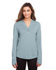 Opal Blue - NE400W North End Ladies' Jaq Snap-Up Stretch Performance Pullover Long Sleeve Shirt | BlankClothing.ca