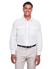 White - M580L Harriton Men's Key West Long-Sleeve Performance Staff Shirt | BlankClothing.ca