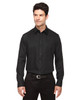 Black - 88673 North End Men's Boulevard Wrinkle-Free Two-Ply 80's Cotton Dobby Taped Shirt with Oxford Twill | BlankClothing.ca