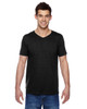 Black SFVR Fruit of the Loom 100% Softspun Cotton Jersey V-Neck T-Shirt | Blankclothing.ca