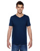 Navy SFVR Fruit of the Loom 100% Softspun Cotton Jersey V-Neck T-Shirt | Blankclothing.ca