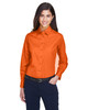 Team Orange - M500W Harriton Easy Blend Long-Sleeve Twill Shirt with Stain-Release | BlankClothing.ca