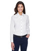 White - M500W Harriton Easy Blend Long-Sleeve Twill Shirt with Stain-Release | BlankClothing.ca