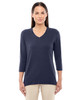 Navy - DP184W Devon & Jones Ladies' Perfect Fit Bracelet Length V-Neck Top