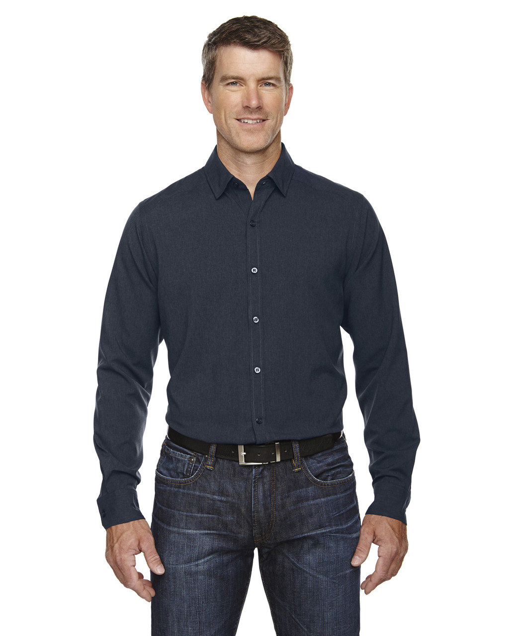 Night - 88802 Ash City - North End Sport Blue Central Ave Mélange Performance Shirt | Blankclothing.ca