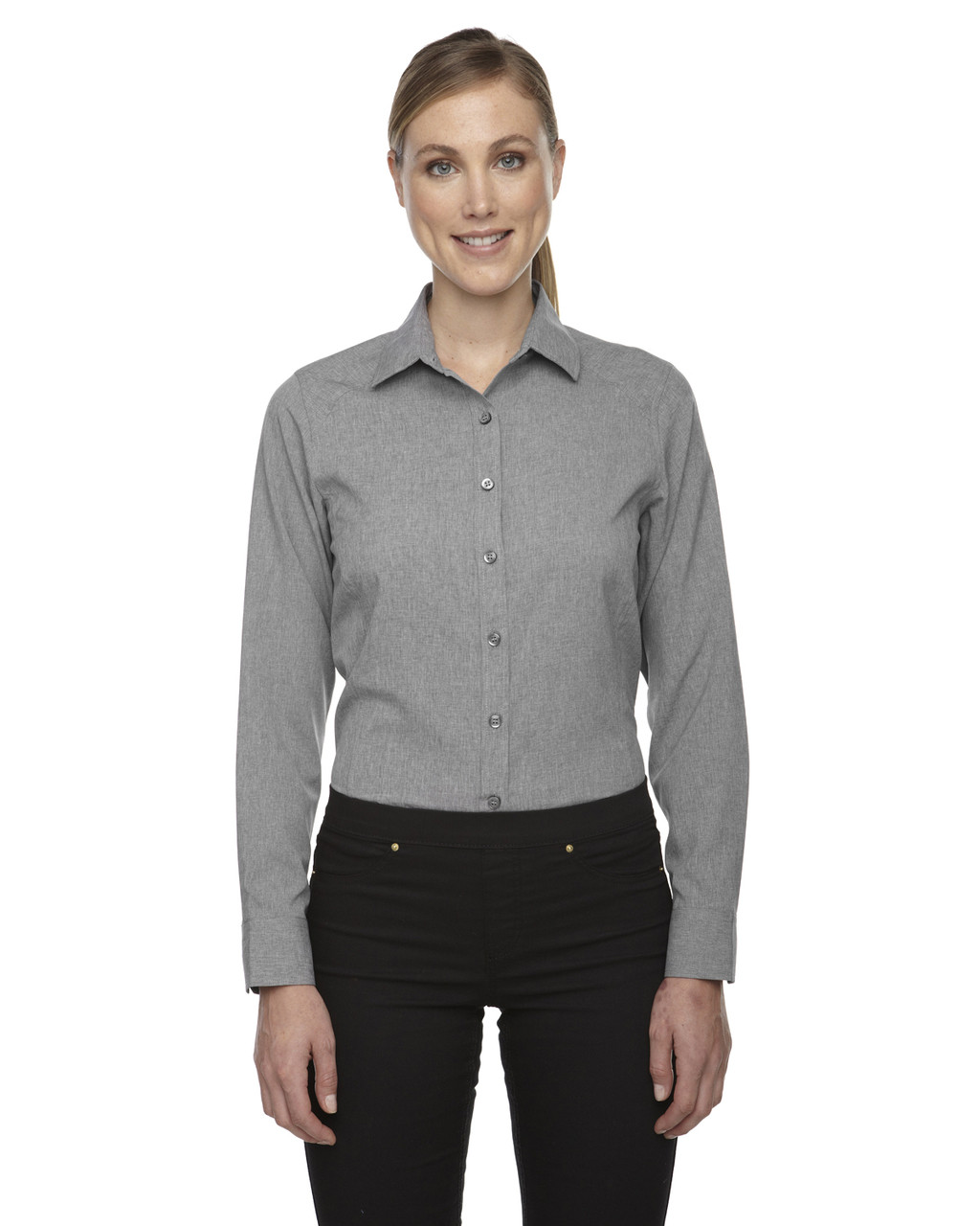 Light Grey Heather - 78802 North End Sport Blue Central Ave Mélange Performance Shirt | Blankclothing.ca