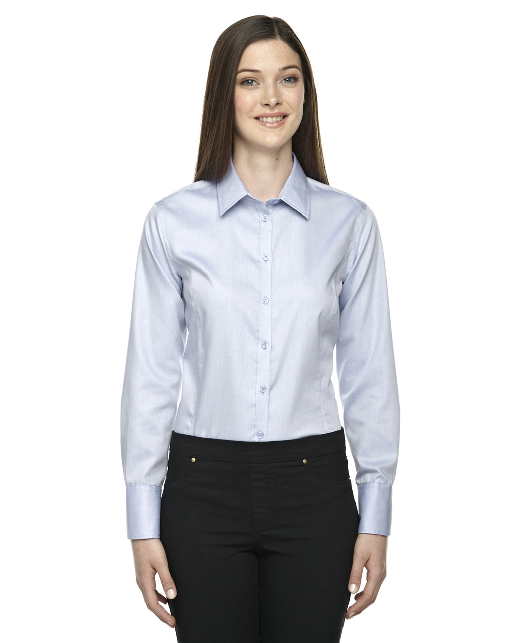 Cool Blue - 78673 North End Sport Blue Boulevard Wrinkle-Free Cotton Dobby Taped Shirt with Oxford Twill | Blankclothing.ca