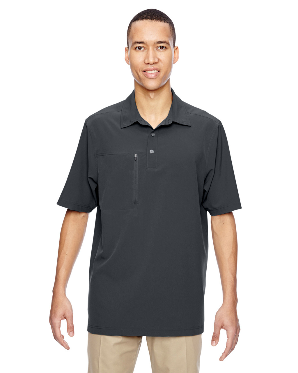 Graphite - 85120 North End Excursion Crosscheck Performance Woven Polo Shirt | Blankclothing.ca