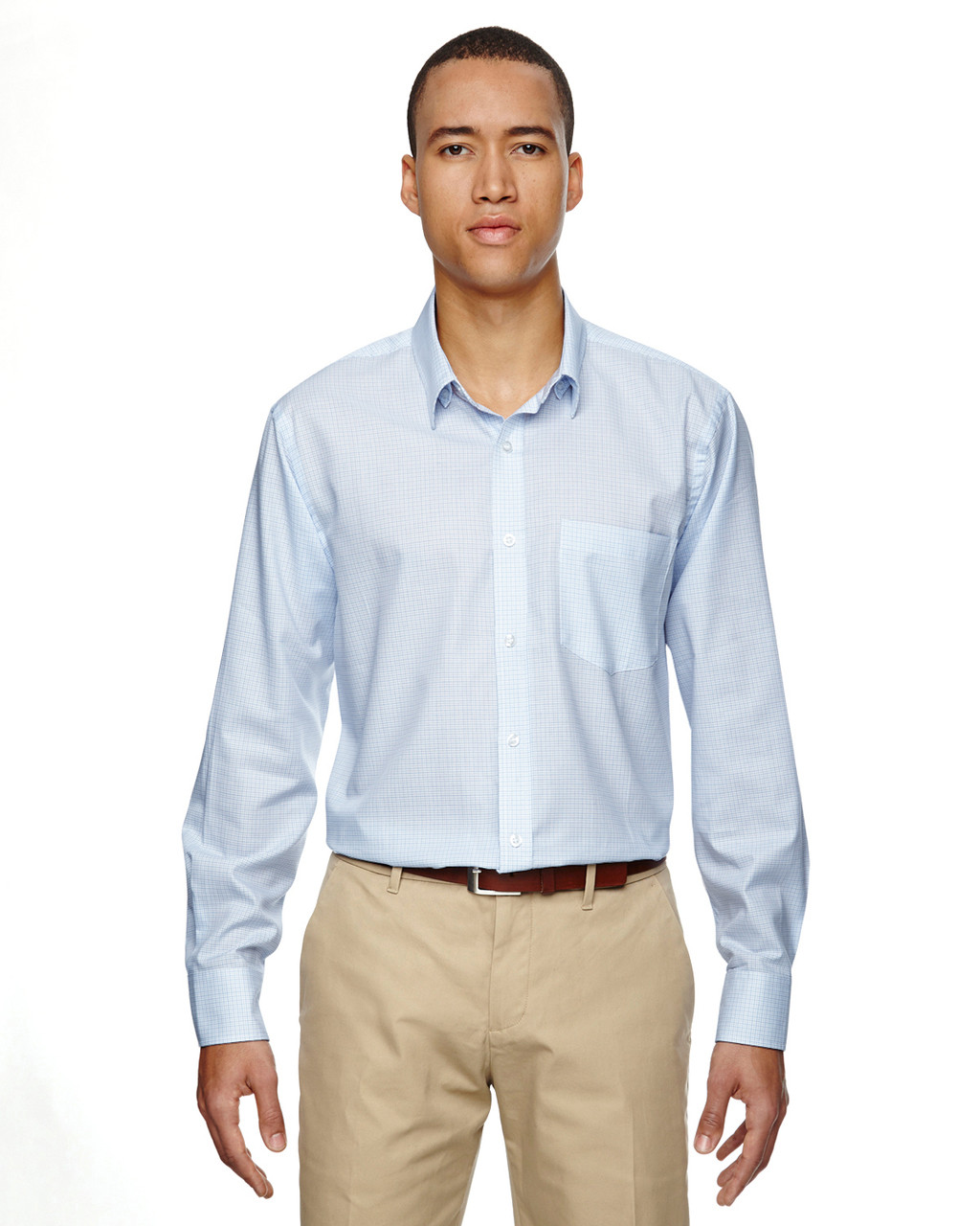 Light Blue 87043 North End Paramount Wrinkle-Resistant Cotton Blend Twill Checkered Shirt | Blankclothing.ca