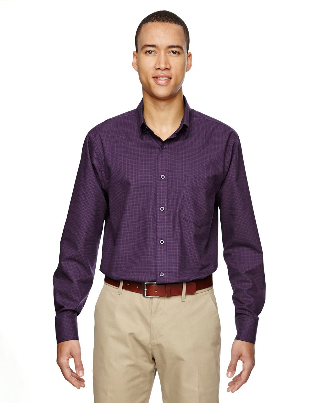 Mulbry Purple 87043 North End Paramount Wrinkle-Resistant Cotton Blend Twill Checkered Shirt | Blankclothing.ca