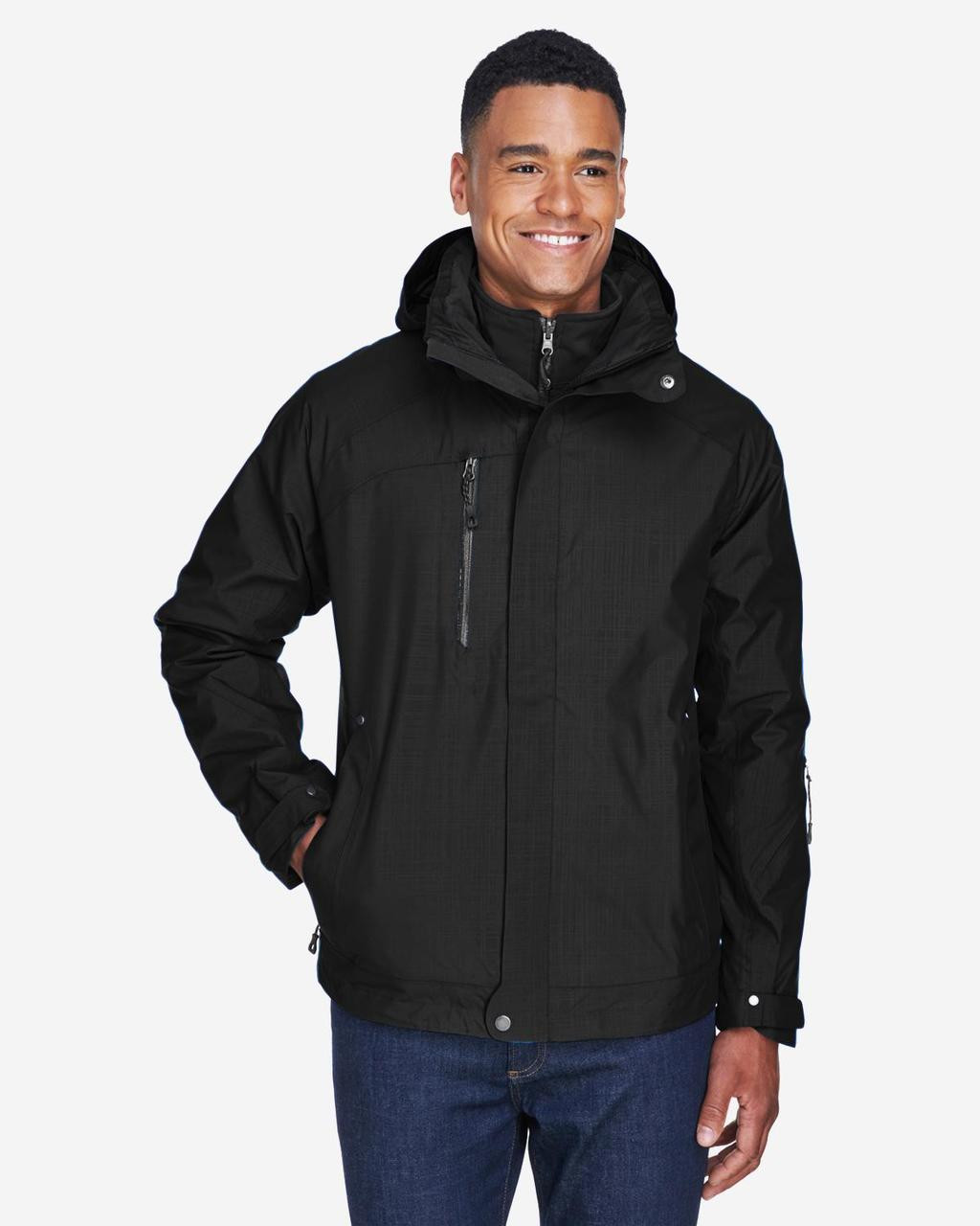 Black - Front, 88178 North End Caprice 3-in-1 Jacket with Soft Shell Liner | BlankClothing.ca
