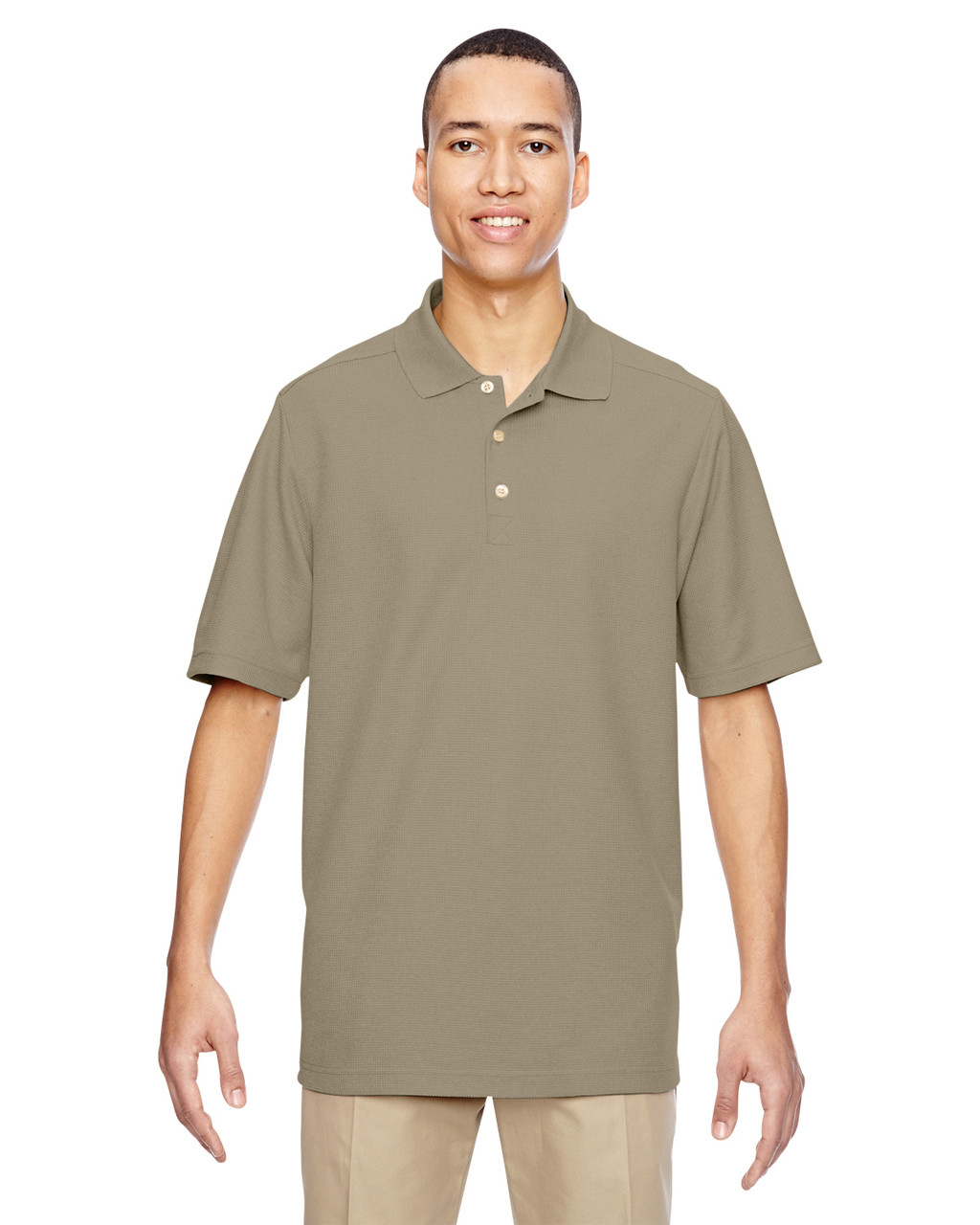 Stone - 85121 Ash City - North End Excursion Nomad Performance Waffle Polo Shirt | Blankclothing.ca