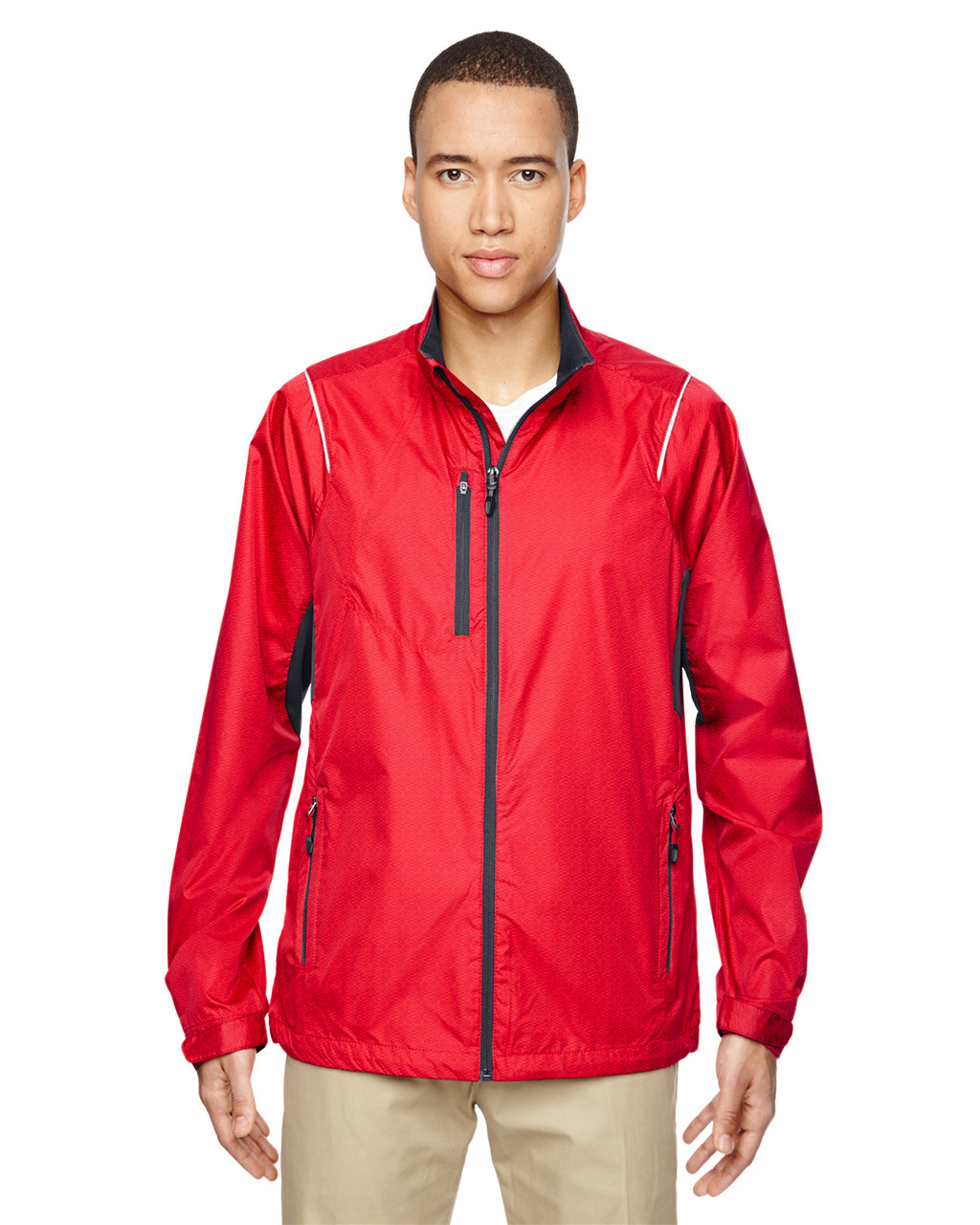 Flame Red - 88200 North End Sustain Lightweight Recycled Polyester Dobby Jacket with Print | Blankclothing.ca