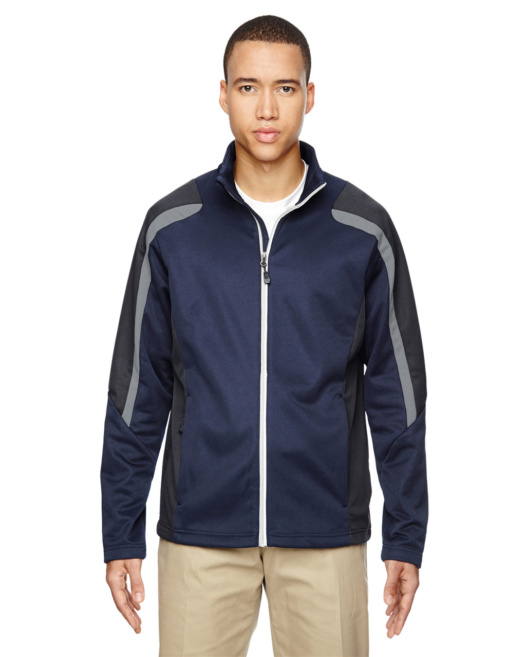 Classic Navy - 88201 North End Men's Strike Colorblock Fleece Jacket | Blankclothing.ca