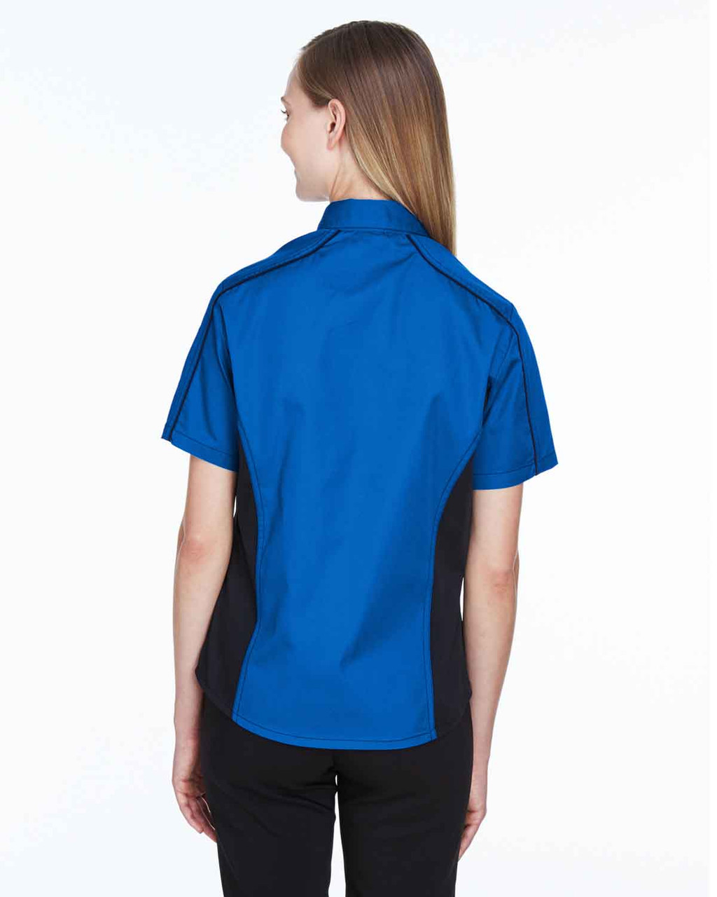 True Royal/Black - Back, 77042 North End Fuse Colourblock Twill Shirt | BlankClothing.ca