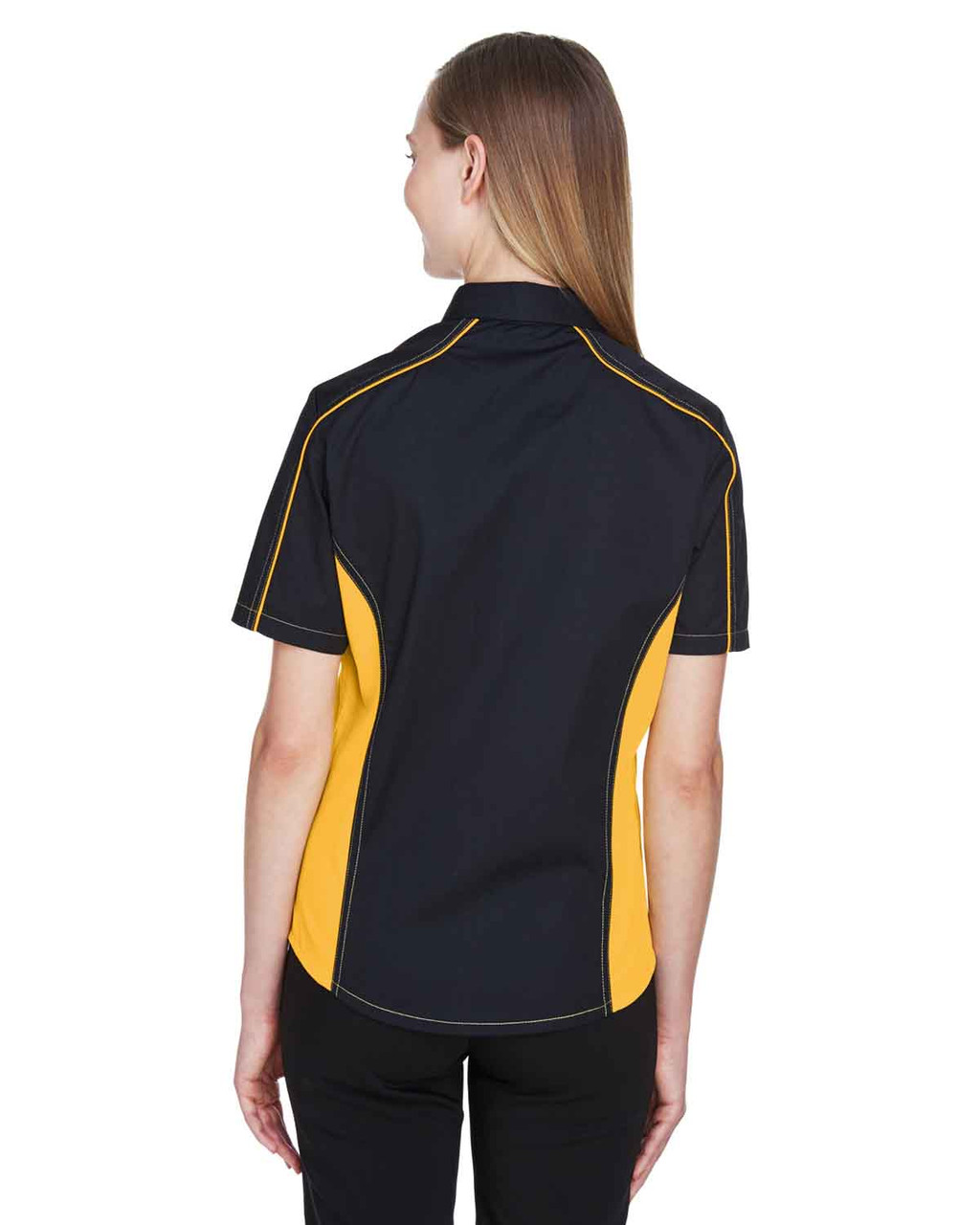 Black/Campus Gold - Back, 77042 North End Fuse Colourblock Twill Shirt | BlankClothing.ca