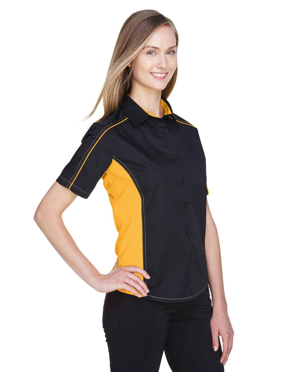 Black/Campus Gold - 77042 North End Fuse Colourblock Twill Shirt | BlankClothing.ca