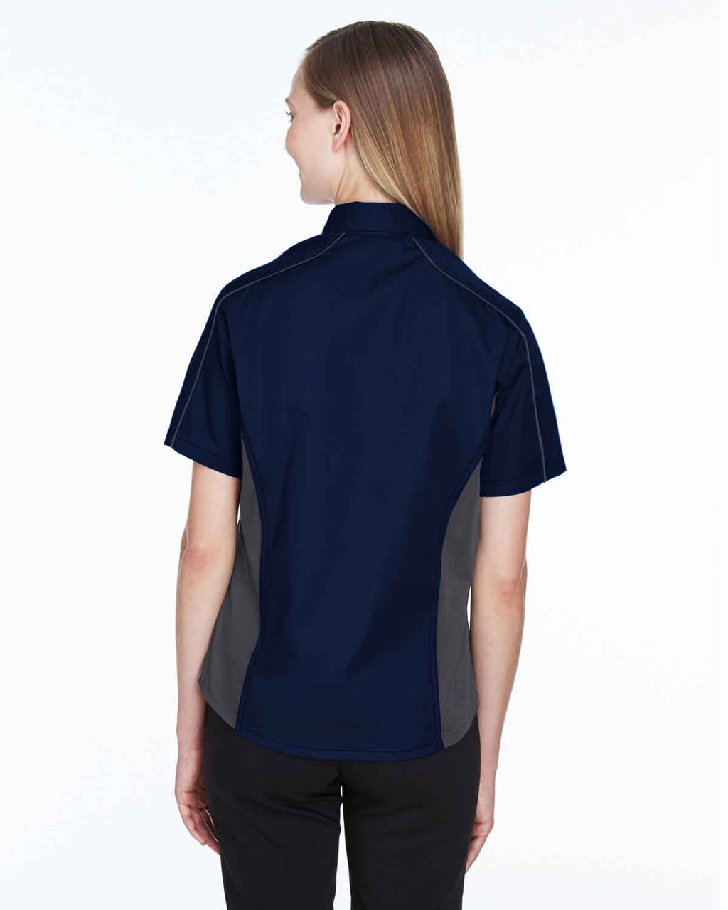 Classic Navy/Carbon - Back, 77042 North End Fuse Colourblock Twill Shirt | BlankClothing.ca
