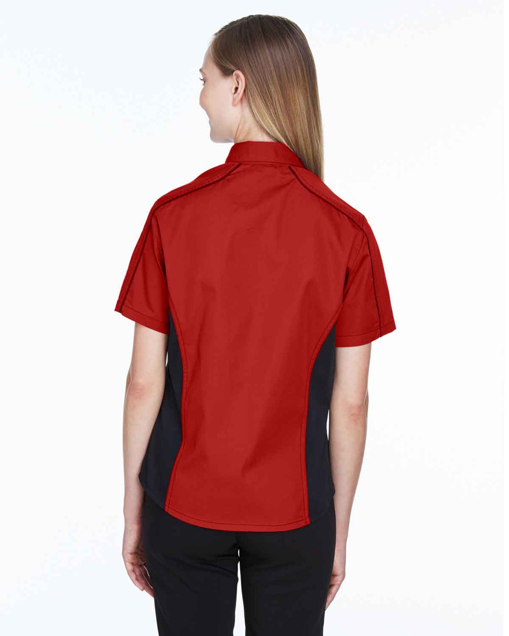 Classic Red/Black - Back, 77042 North End Fuse Colourblock Twill Shirt | BlankClothing.ca