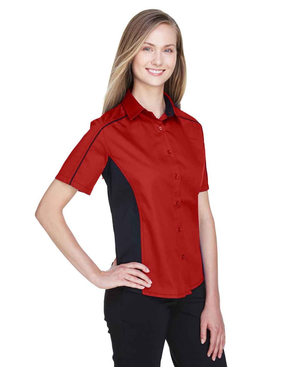 Classic Red/Black - 77042 North End Fuse Colourblock Twill Shirt | BlankClothing.ca