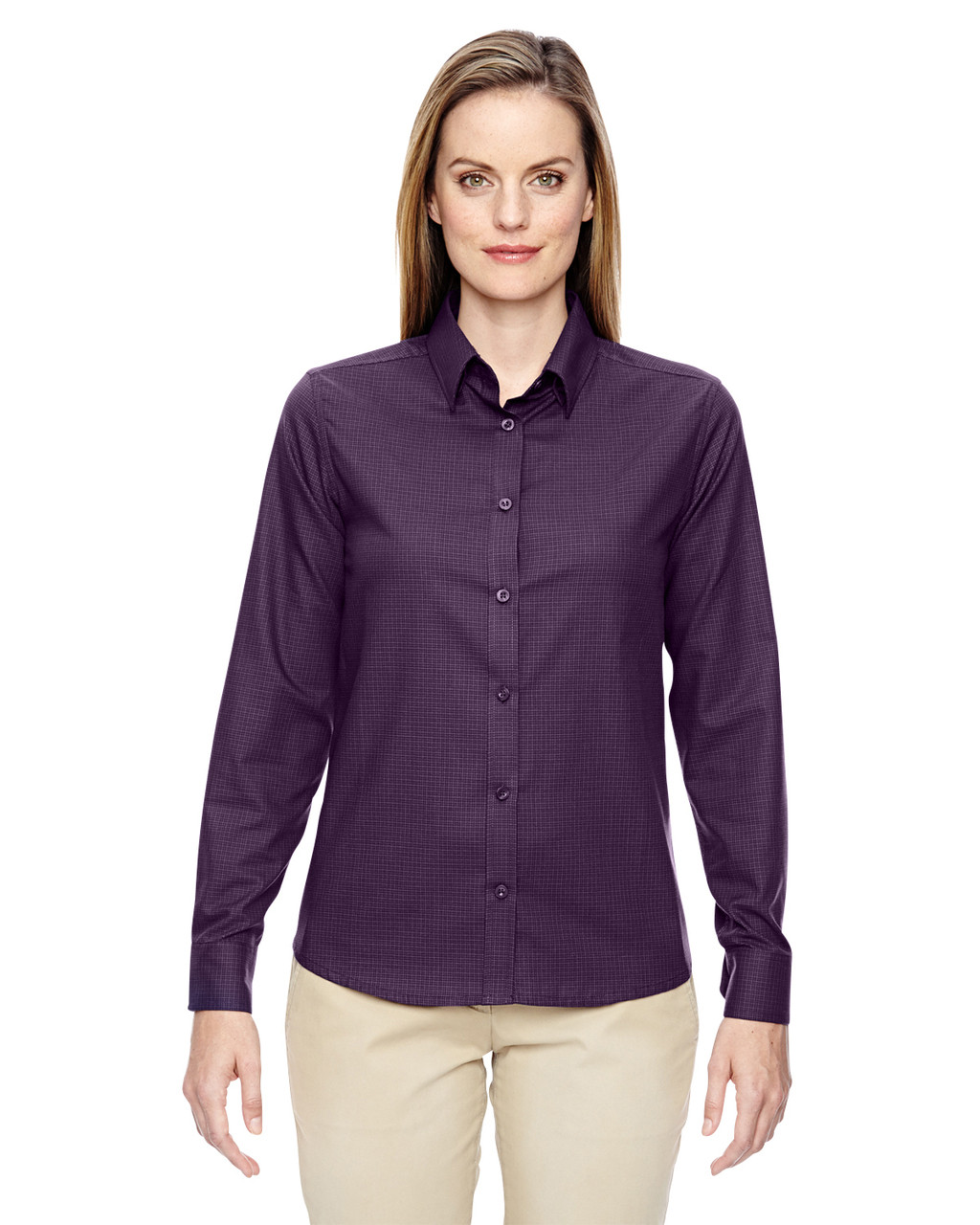 Mulbry Purpl - 77043 North End Paramount Wrinkle-Resistant Cotton Blend Twill Checkered Shirt | Blankclothing.ca