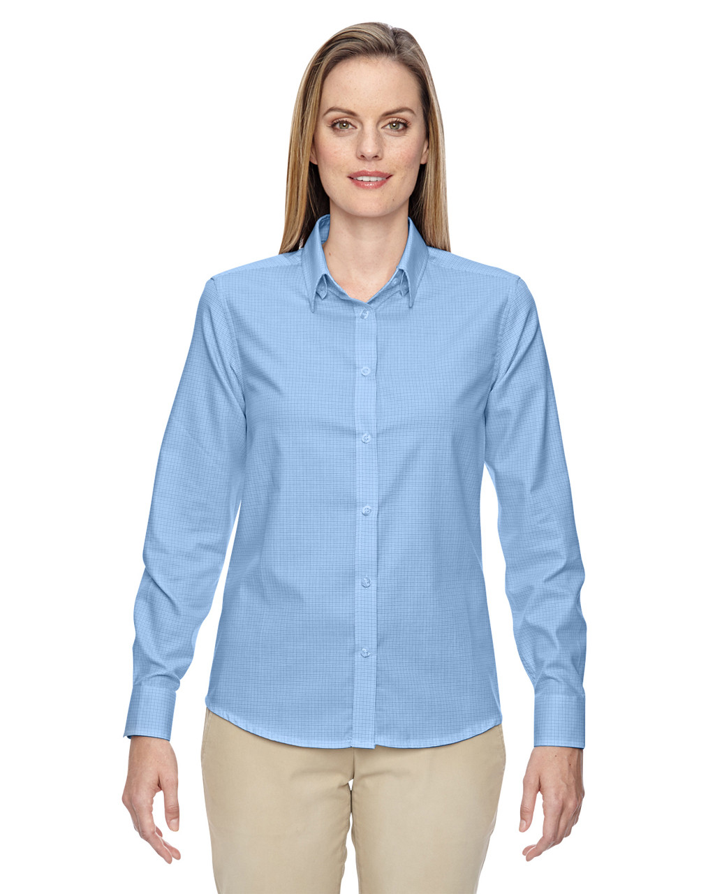 Light Blue 77043 North End Paramount Wrinkle-Resistant Cotton Blend Twill Checkered Shirt | Blankclothing.ca