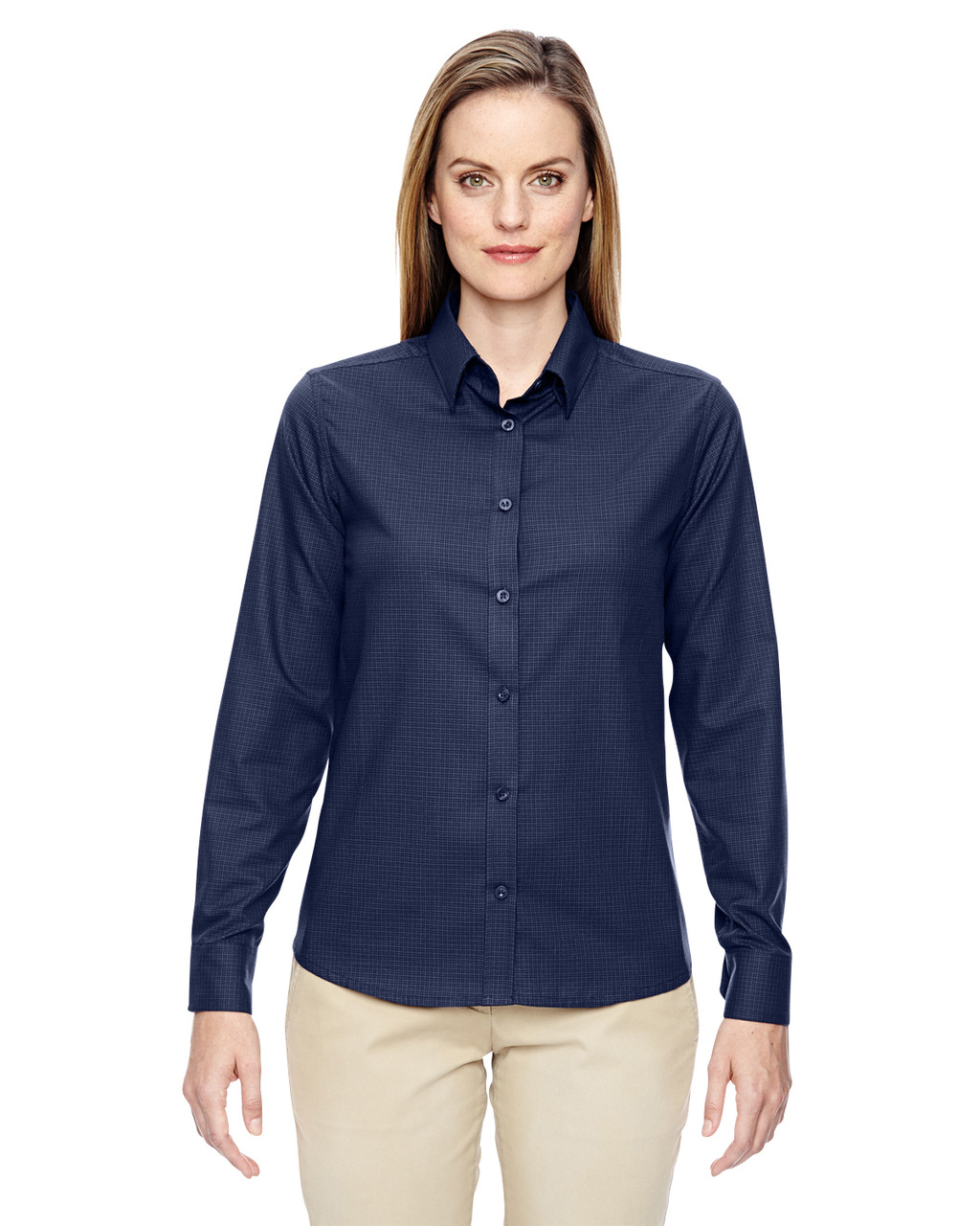 Classic Navy 77043 North End Paramount Wrinkle-Resistant Cotton Blend Twill Checkered Shirt | Blankclothing.ca