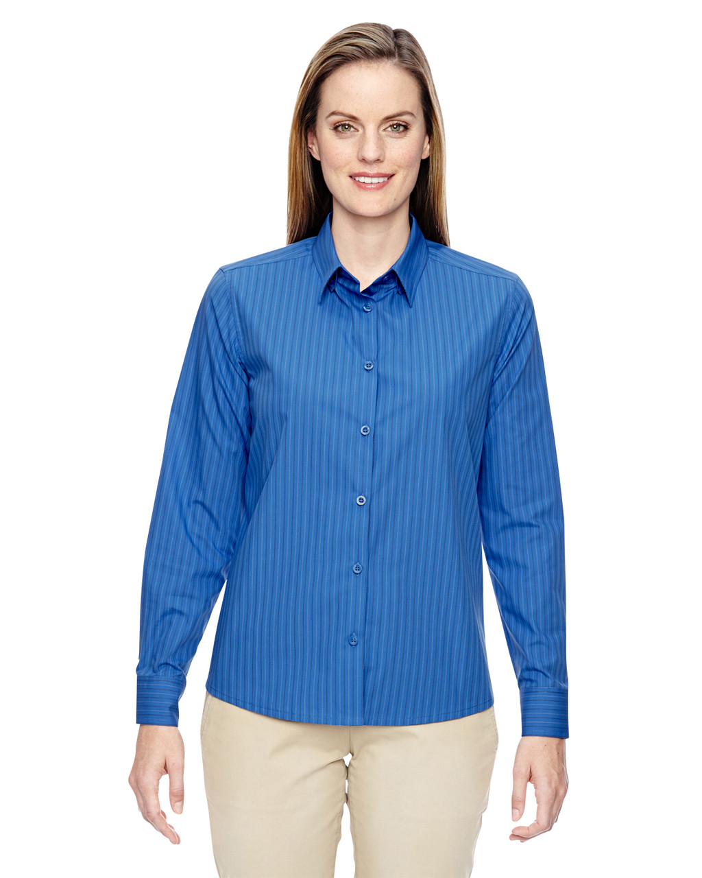 Deep Blue - 77044 North End Align Wrinkle-Resistant Cotton Blend Dobby Vertical Striped Shirt | Blankclothing.ca