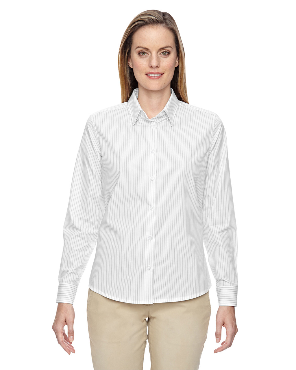 White - 77044 North End Align Wrinkle-Resistant Cotton Blend Dobby Vertical Striped Shirt | Blankclothing.ca