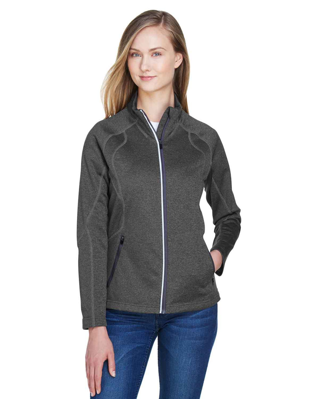 Carbon Heather - 78174 North End Ladies' Gravity Performance Fleece Jacket | BlankClothing.ca