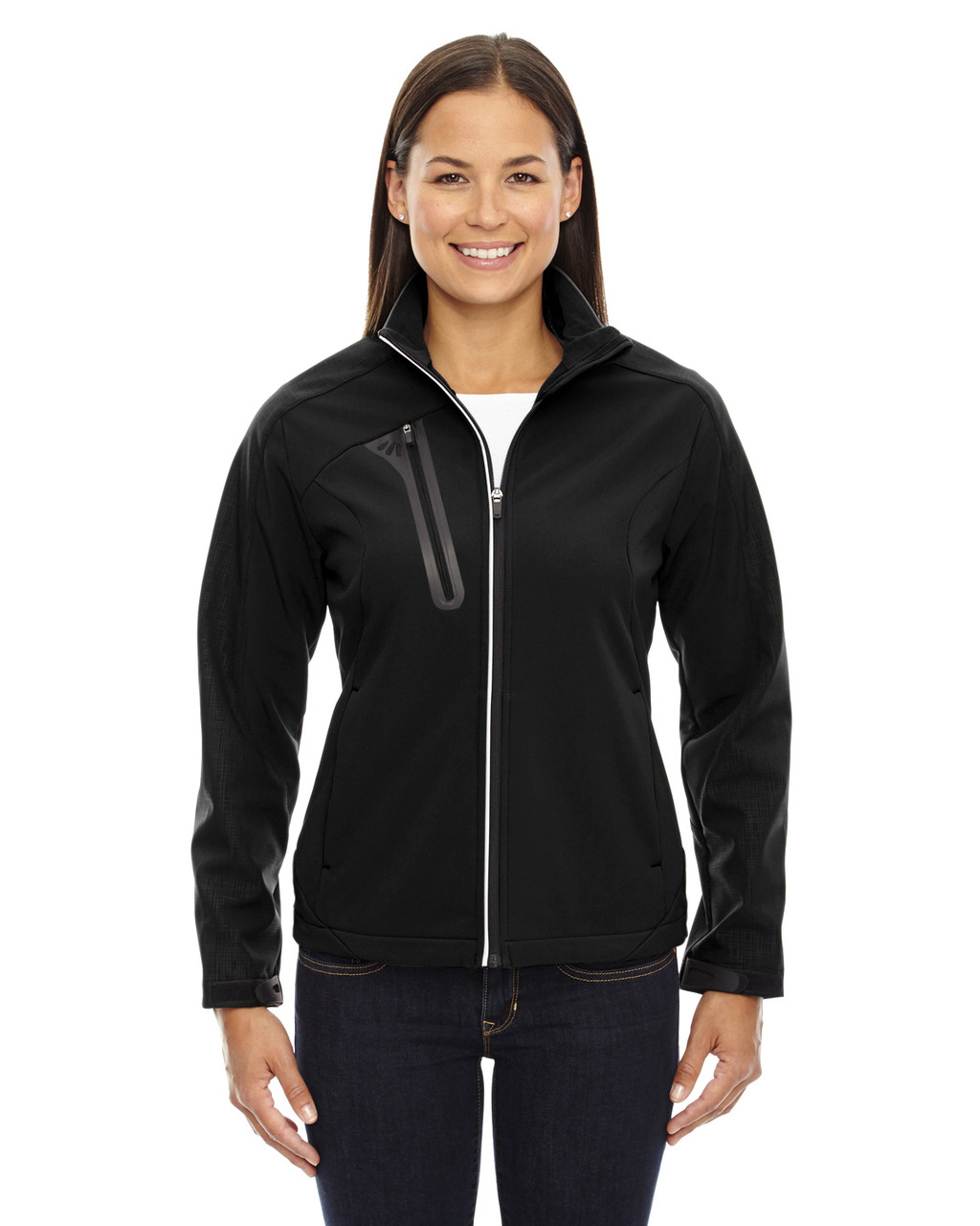 Black - 78176 North End Terrain Colourblock Soft Shell Jacket with Embossed Print | Blankclothing.ca