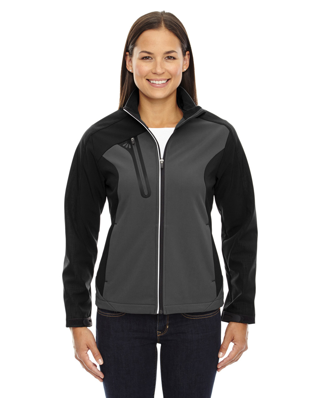 Black Silk - 78176 North End Terrain Colourblock Soft Shell Jacket with Embossed Print | Blankclothing.ca