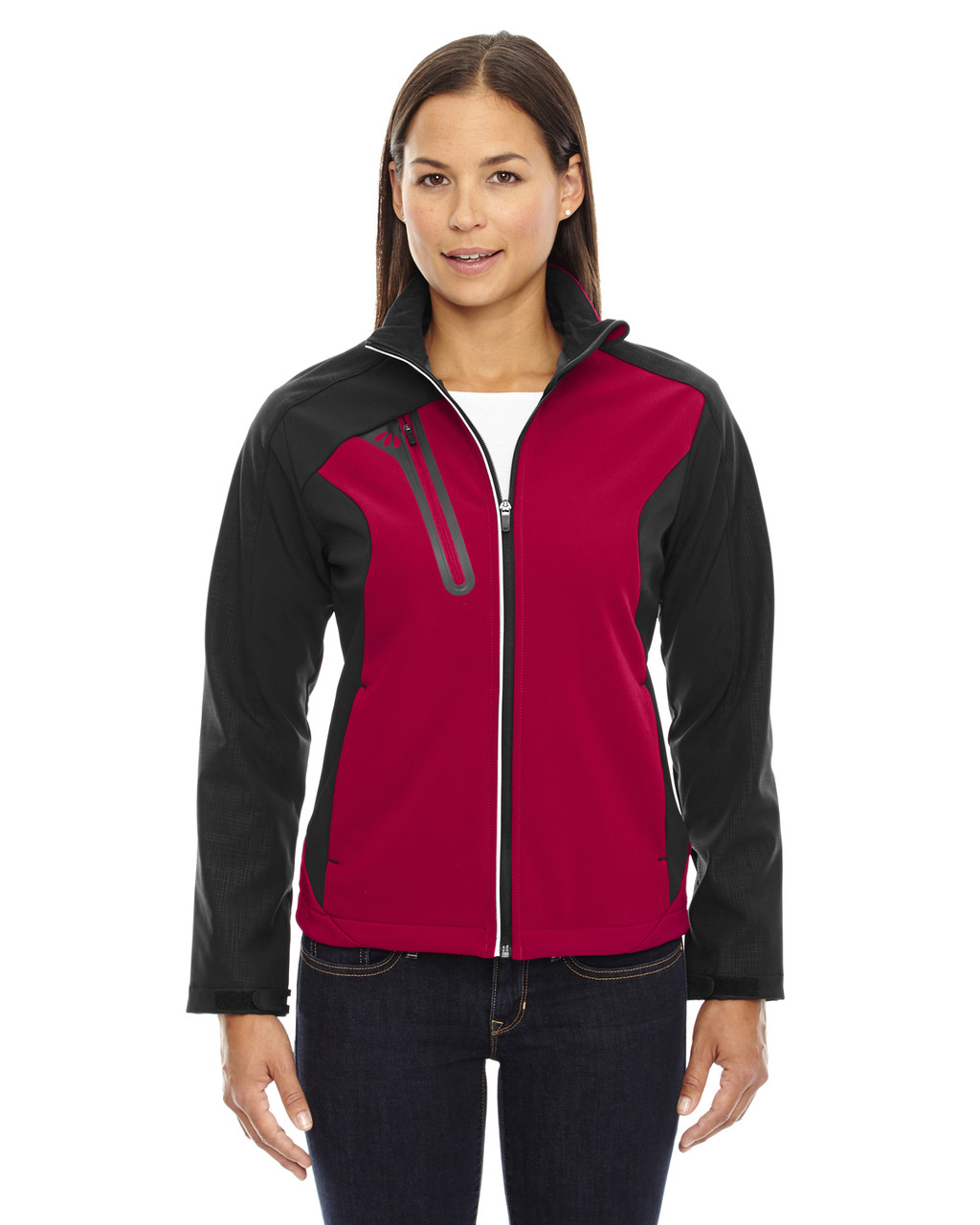 Classic Red - 78176 North End Terrain Colourblock Soft Shell Jacket with Embossed Print | Blankclothing.ca