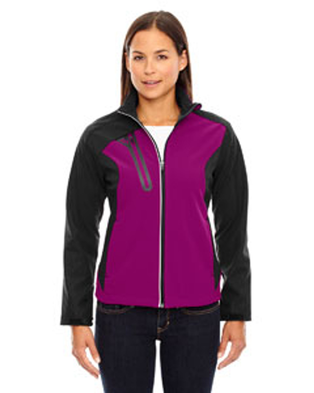 Raspberry - 78176 North End Terrain Colourblock Soft Shell Jacket with Embossed Print | Blankclothing.ca