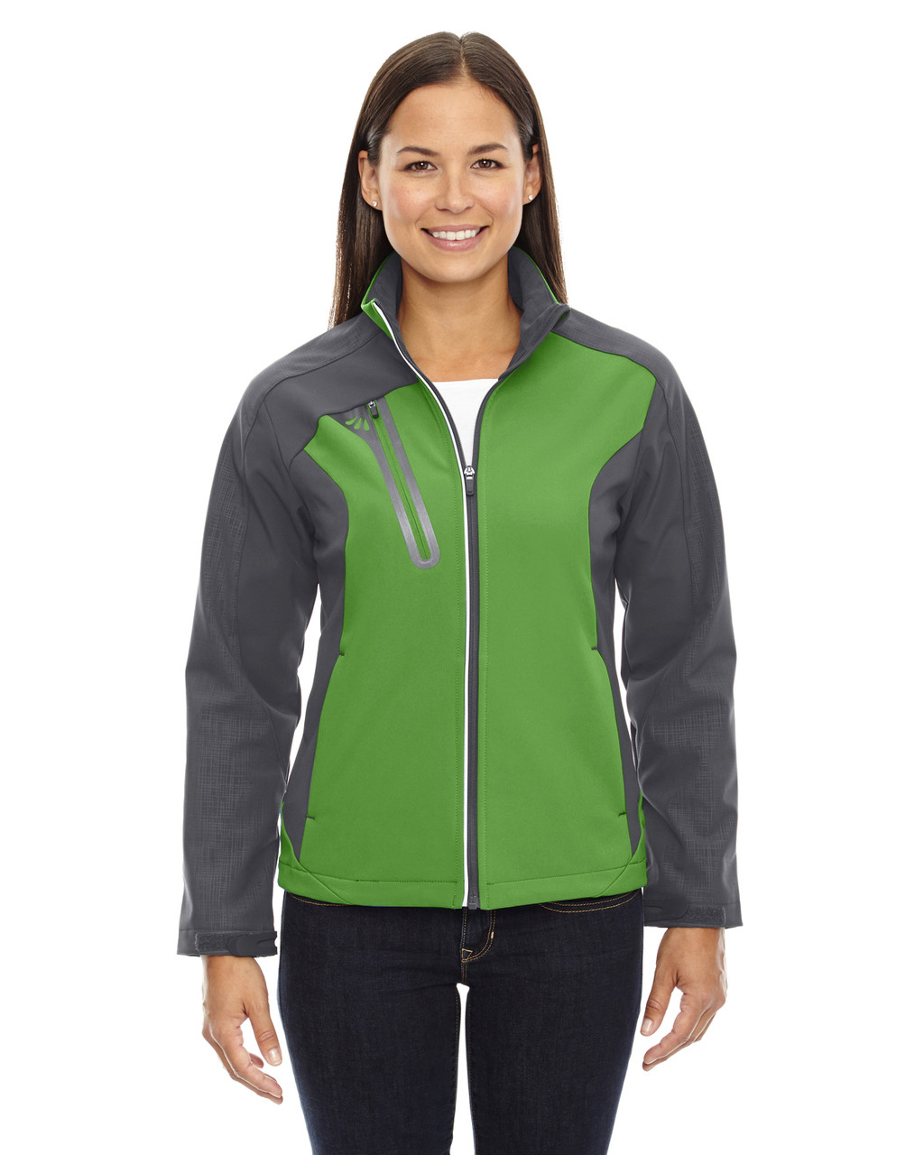 Valley Green - 78176 North End Terrain Colourblock Soft Shell Jacket with Embossed Print | Blankclothing.ca