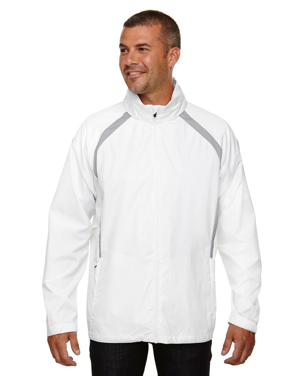 White - 88168 North End Sirius Lightweight Jacket with Embossed Print | Blankclothing.ca