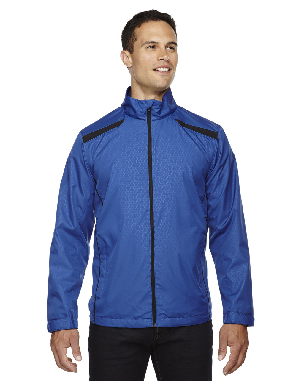 Nautical Blue 88188 North End Lightweight Recycled Polyester Jacket with Embossed Print | Blankclothing.ca